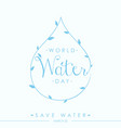world water day quote letter vector image vector image