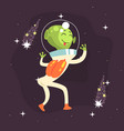 cheerful dancing alien with cute face showing vector image