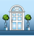 white door with topiary vector image