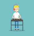 young blond dj wearing headphones and scratching vector image
