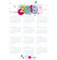2019 calendar calendar poster of modern design vector image