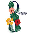 8 march floral card vector image vector image