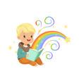 adorable little boy reading magic book with fairy vector image vector image