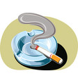 ashtray with a smoldering cigarette vector image