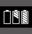 battery set on black background black flat style vector image vector image