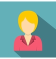 Blond woman with a short hairstyle icon flat style vector image