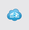 Blue cloud 3d movie icon vector image vector image