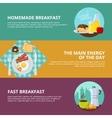 Breakfast Flat Banners Set vector image