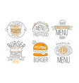 calligraphy emblem collection for burger cafe vector image vector image
