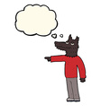cartoon wolf man pointing with thought bubble vector image vector image