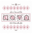 cherish the love greeting card on dotted pattern vector image vector image