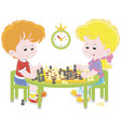 children playing chess vector image vector image