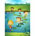 Children stepping on lotus leaves vector image vector image