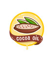 cocoa oil logo natural product emblem vector image vector image