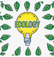 cute bulb with leaves around to ecology care vector image