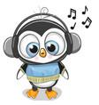 cute cartoon penguin boy with headphones vector image