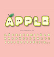 cute summer apple font cartoon paper cut out vector image