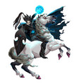 dark elf with armor riding horse vector image vector image