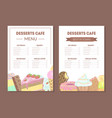 desserts cafe menu template kids food menu ice vector image vector image