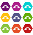 dome tent for camping icon set color hexahedron vector image vector image