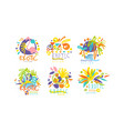 exotic original design labels collection colorful vector image vector image