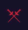 fencing swords icon crossed foils vector image