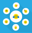 flat icon expression set of asleep hush vector image vector image