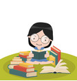 girl sit reading book stacks vector image vector image