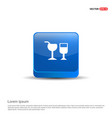 glass of drink icon - 3d blue button vector image