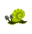 green sea snail with big shiny eyes adorable vector image vector image