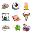 halloween symbols toad eye pot poison and other vector image