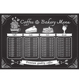 Hand drawn coffee and bakery on chalkboard vector image vector image
