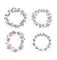 hand drawn flower wreath set in scandinavian style vector image vector image