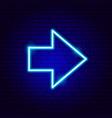 heavy arrow neon sign vector image vector image