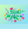 hello spring greeting word text background vector image