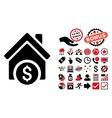 Home Price Flat Icon with Bonus vector image