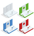 isometric tribune set podium rostrum stand vector image vector image