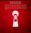 keyhole icon isolated on red background vector image