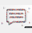 large group people in chat bubble shape vector image vector image