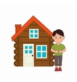 log cabin camping icon vector image