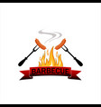 logo grilled food barbecue with flames and two vector image vector image