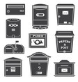 modern post boxes and letterboxes icons vector image vector image