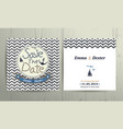 nautical wedding save date card on chevron vector image