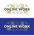 online work flat line concept for web banner and vector image vector image