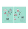 paris travel tour booklet set in linear style vector image vector image