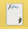 recipe notebook with hand drawn text olive and vector image vector image