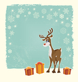 Retro Christmas card with reindeer vector image vector image