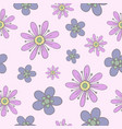 seamless pattern with gentle hand-drawn flowers vector image