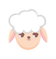 sheep head animal cartoon on white background vector image