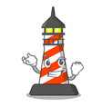 successful cartoon realistic red lighthouse vector image